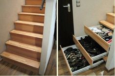 DIY Staircase Drawers.  instructions @ http://canadianhomeworkshop.com/2238/project-plans/staircase-drawers#projecttabs