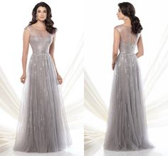 Fashionable Scoop Illusion Tulle A-line Mother Dresses Sequin Keyhole Back Floor-length  http://www.aliexpress.com/item-img/-/32271815615.html#