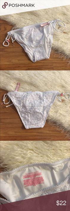 Victoria Secret NEW White Lace Bikini Bottoms White lace ties at Sides. Boho chick style with moon, and stars charms. Victoria's Secret Swim Bikinis