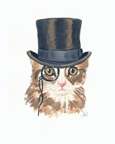 Kitten Watercolor Original Cat Watercolour par WaterInMyPaint, $50.00