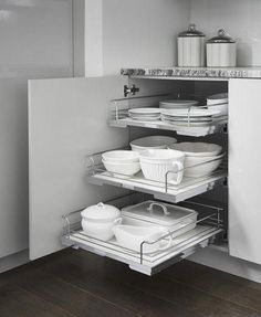Base Cabinet with Kessebohmer Pull-Outs These Kessebohmer Pull-Outs keep all of your base cabinet storage within easy reach! Rustic Kitchen Design, Kitchen Room Design, Outdoor Kitchen Design, Kitchen Cabinet Design, Home Decor Kitchen, Interior Design Kitchen, Kitchen Furniture, Kitchen Storage, Cabinet Storage