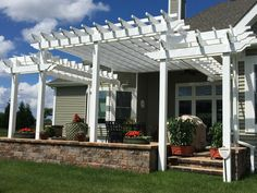 3 Story Pergola adds class & elegance Vinyl Pergola, Yard, Outdoor Structures, Home, Patio, Ad Home, Yards, Homes, Houses