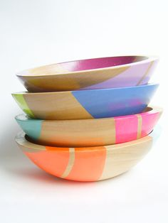 "Set of FOUR Modern Neon Hardwood 7"" Bowl. $160.00, via Etsy."