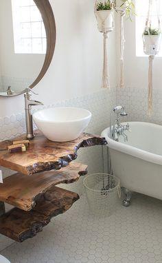 Bathroom Decor apartment Use the funky sassafras and some board - - Live Edge Furniture, Diy Furniture, Handmade Wood Furniture, Funky Bathroom, Zebra Bathroom, 1920s Bathroom, Paris Bathroom, Ocean Bathroom, Mermaid Bathroom