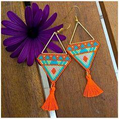 Items similar to Orange triangle weaving miyuki with tassel earrings on Etsy Bead Jewellery, Seed Bead Jewelry, Seed Bead Earrings, Diy Earrings, Beaded Jewelry, Tassel Earrings, Japanese Pearls, Beadwork Designs, Bijoux Diy