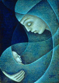 Art - Mother & Child, Mother and Child (Blue) - J. Kirk Richards