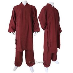 Dark-Red-Smooth-Linen-Kung-fu-Robe-Martial-arts-Uniform-Tai-chi-Wing-Chun-Suit