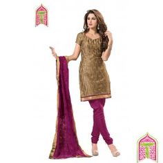 Unstitched Salwar Kameez-Peach with Green color designer Unstitched Churidar Material - By Thambi shopping