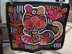 VINTAGE PANAMA HAND STICHED MOLA TEXTILE CAT FOLK ART