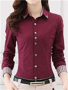 High Quality Women Blouses Casual Plaid Patchwork Blouse Shirt Women Tops Blusas Plus Size Long Sleeve Blouse Shirt Cheap Blouses, Cute Blouses, Shirt Blouses, Blouses For Women, Shopping Outfits, Stylish Shirts, Casual Shirts, Formal Shirts, Blouse Designs