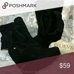 WEDGE BLACK SUEDE BOOTS These Gorgeous Black Suede Boots by Calvin Klein Jeans will take you places. Boot detailed by an entwined bow on the outer side of the boot.  Genuine Leather Suede.  Thanks for stopping by my Posh Closet  Please come again soon  Ciao Calvin Klein Jeans Shoes Ankle Boots & Booties