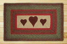 Hearts | Print Patch | Braided Rug . $29.95. Combining braiding with printing to introduce an exciting new Print Patch Braided Rug Collection. It's new and it's growing! We continue adding new designs and now introduce oval Print Patches! Measures 20 inches by 30 inches.