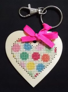 giveaway from Cross Stitcher Magazine Feb 2014 wooden heart - pattern was roses but I decided to do polka dots instead!