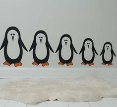 Penguins by STICKERS DELUXE get a COOL feeling on the wall with this cute penguin family!