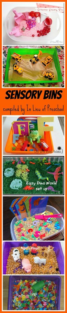 sensory bins: these are great since we cant use sand/water tables