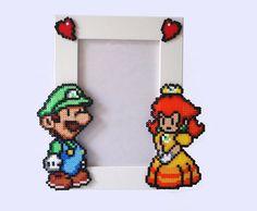 Luigi & Daisy  Paper Mario Picture Frame  White Frame by BeadxBead, €17.00
