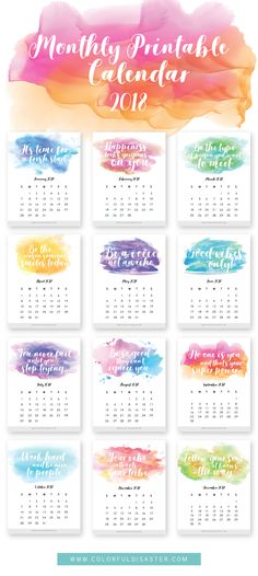 Free 2018 Printable Calendar from Colorful Disaster