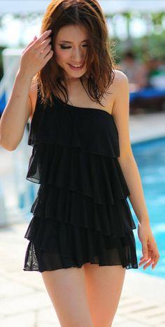 Free shipping 2014 women swimwear dress plus size swimwear one piece swimsuit Hot Springs Surfer bathing suits shoulder swimwear-in One Piec...
