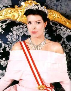 Princess Caroline wearing the fringe tiera as a necklace and her grandmother's tiara, the Princess Charlotte Tiara.