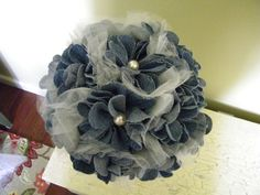 Denim & Pearls Bridal Bouquet by LisasSimpleElegance on Etsy, $225.00