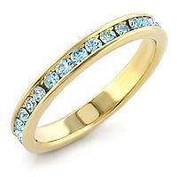Crystal Band - 14k Gold Plated Simulated Aquamarine Swarovski Crystal Band | Hope Chest Jewelry, $11.49