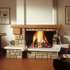 Risultati immagini per termocamino rivestito rustico Classic Fireplace, Interior Exterior, Brick, Sweet Home, Living Room, Kitchen, Ideas Para, Diy Ideas, Home Decor