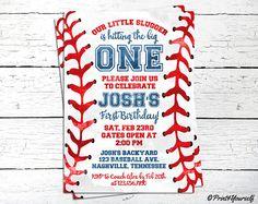 1st Birthday Baseball Invitation / Personalized Printable