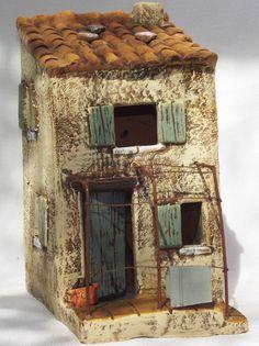 Paul Garrel Artisan Santonnier Clay Properties Ceramic Homes Papers Properties Miniature Houses Clay Houses, Ceramic Houses, Paper Houses, Miniature Houses, Ceramic Clay, Decoupage, Boat Crafts, Pottery Houses, Cool Coasters