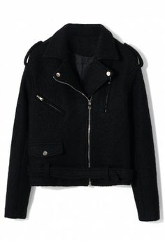 Felt Wool Motocycle Jacket with Belt in Black- i would like this in saddle brown
