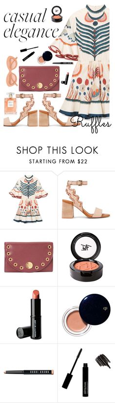 """""""What a Frill:  Ruffles"""" by juliehooper ❤ liked on Polyvore featuring Chloé, See by Chloé, Beauty Is Life, Clé de Peau Beauté, Bobbi Brown Cosmetics, Le Specs, ruffles, chloe and RuffLyfe"""
