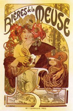 Read more: https://www.luerzersarchive.com/en/magazine/print-detail/5144.html Poster for beer from France´s Meuse region. Tags: Alphonse Maria Mucha,