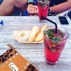 Raspberry mojitos, ciabatta and hommus,