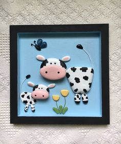 Cow decor, cow art, cow pebble art, nursery wall a Winter Art Projects, Winter Crafts For Kids, Projects For Kids, Stone Crafts, Rock Crafts, Crafts With Rocks, Pebble Painting, Pebble Art, Rock Painting