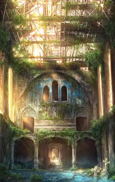Abandoned greenhouse or some sort of atrium.