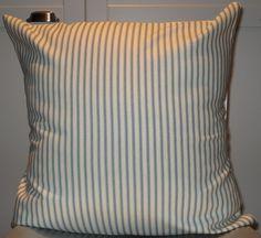 New 18x18 inch Designer Handmade Pillow Case in pool blue ticking stripe on white.