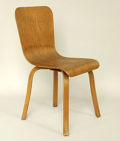 Dining Chair, 1946  Waclaw and Stykolt Czerwinski, and Hilary Stratford  Canadian Wooden Aircraft, Stratford  Moulded plywood, bent laminated wood, varnish, gliders