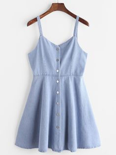 Blue Single Breasted Slip Denim Dress