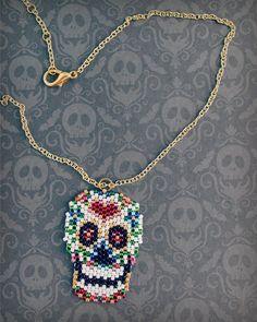 Sugar Skull Necklace, Beaded Skull, Skull Jewelry, Sugar Skull Jewelry, Calavera Necklace, Day of th Crochet Necklace, Beaded Necklace, Pendant Necklace, Sugar Skull Jewelry, Skull Necklace, Beaded Skull, Beads, Beadwork, Unique Jewelry