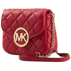 Pre-owned Michael Kors Quilted Mini Leather Chain Handbag Red/ Gold... ($161) ❤ liked on Polyvore featuring bags, handbags, shoulder bags, red, michael kors purses, red leather purse, crossbody purse, mini crossbody and leather handbags