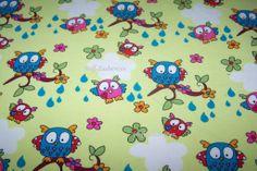 Janeas World Owls GOTS Eulen Owls Herzen Blumen hellgrün Baumwolljersey GOTS