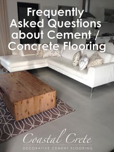 """When people are first introduced to the beauty of decorative cement / concrete flooring, they are initially """"floored"""" by its good looks.  However, once that love-at-first-sight reaction fades, it's often followed by skepticism about the practicality of cement / concrete flooring.  To help you decide, here are answers to common questions about cement / concrete floor benefits, appearance, performance, and maintenance. Decor, Furniture, Concrete, Storage Bench, Concrete Floors, Home Decor, Cement Floor, Flooring, Floor Colors"""