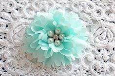 New Item Listing~Reneabouquets Flower -So Shabby Soft Teal Chiffon Large Flower,  Pearl And Rhinestone Fabric Flowers