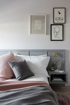 Nathalie Priem interiors photography of Nordic style bedroom with pink and grey textures Pink Bedroom Decor, Master Bedroom Interior, Pink Bedrooms, Scandinavian Bedroom, Nordic Bedroom, Master Room, Bedroom Ideas, Townhouse Interior, Townhouse Designs