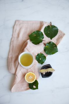 Kawakawa Tea with Ginger and Lemon: a calming digestive tonic and herbal remedy for bloating.