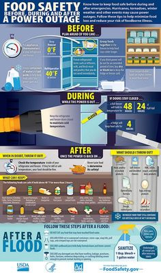Infographic depicting how to practice food safety before, during, and after a power outage by doing the following: Store food groups together and freeze water in advance, keep refrigerator doors closed during a power outage, and assess all refrigerated or frozen products when the power is back on.