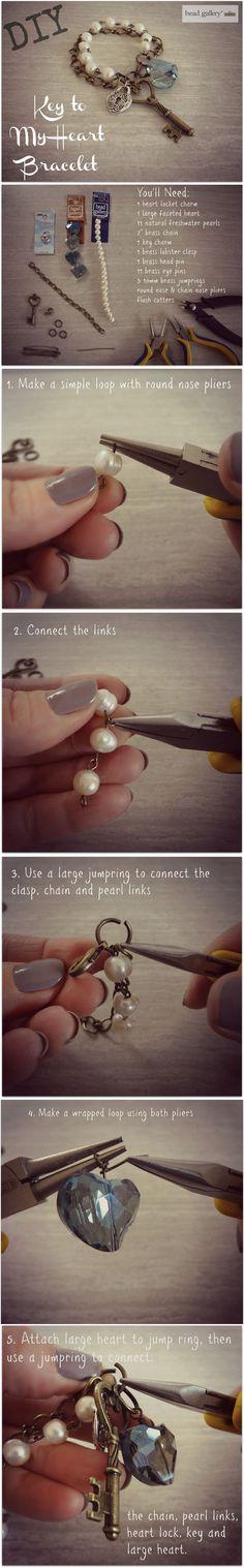 DIY Key To My Heart Bracelet