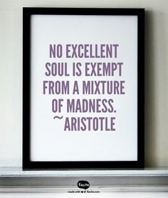 No excellent soul is exempt from a mixture of madness.  ~Aristotle