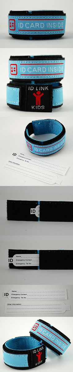 Child ID Wristband/ID Safety Bracelet - Waterproof, Updateable, Adjustable Velcro - Emergency Contact Bracelet, ID Tag For Kids, Lost Child Wristband, 2 ID Card Inserts - ID Link (Pink) (Blue)