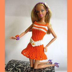 Barbie clothes crocheted orange and white dress and accessories ready to ship