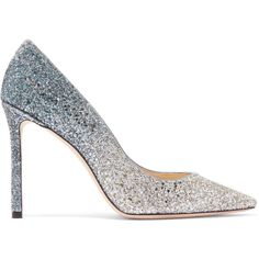 Jimmy Choo Romy 100 glittered suede pumps ($630) ❤ liked on Polyvore featuring shoes, pumps, glitter high heel shoes, jimmy choo, suede pumps, high heeled footwear and glitter shoes